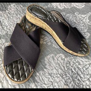 Life Stride — Black Cross Sandals w/ Cork Soles